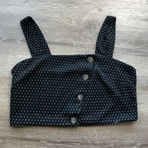 NEW Free People Buttoned Crop Top polka dot L